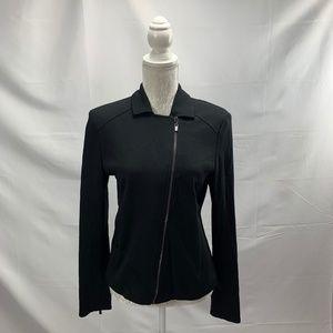Black Jersey Knit Moto Jacket Blazer Sweater